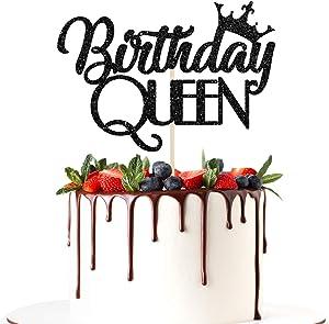 Halodete Glitter Queen Birthday Cake Topper - Happy Birthday Cake Decorations for Girl/Women - Gender Reveal Princess Birthday Party Decor Supplies Black
