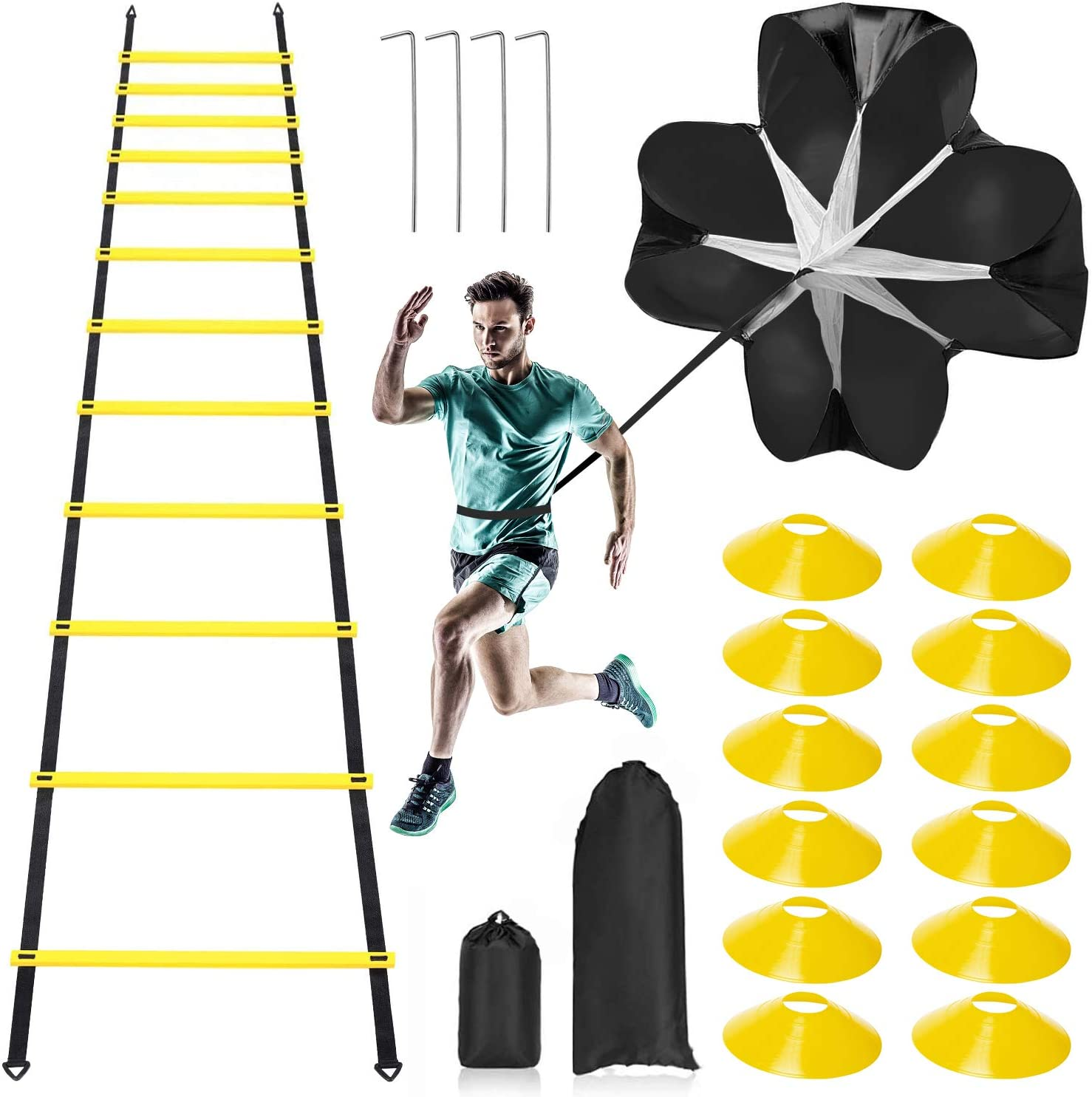 Pro Speed Agility Training Kit—Includes 12 Rung 20ft Adjustable Agility Ladder with Carrying Bag, 12 Disc Cones, 4 Steel Stakes, 1 Resistance Parachute, Use Equipment to Improve Footwork Any Sport