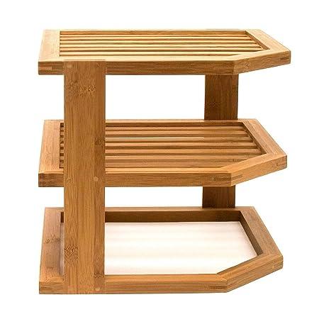Bamboo 3 Tier Corner Shelf Unit Kitchen Plates Rack Cupboard