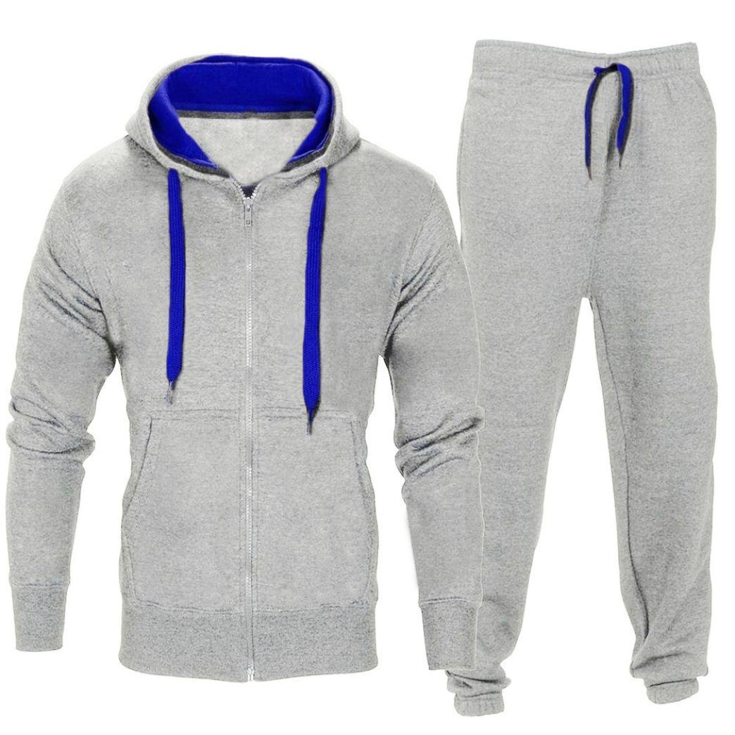 HOMEBABY Men Sport Hooded Sweatshirt Pants Sets, Zipper Coat Jacket Tracksuit Casual T-Shirt Tops Gym Yoga Workout Running Pants Trousers 2 Piece Outfit Sport Wear Suit Sweatpants