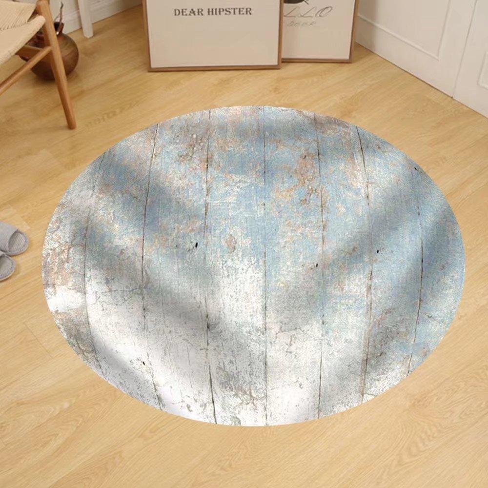 Gzhihine Custom round floor mat Painted Wood Background Blue