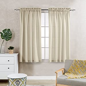 jinchan Casual Weave Semi Sheer Curtains 63 Inch Length Rod Pocket Linen Textured Privacy Voile Panel Window and Door Draperies 2 Panels Beige