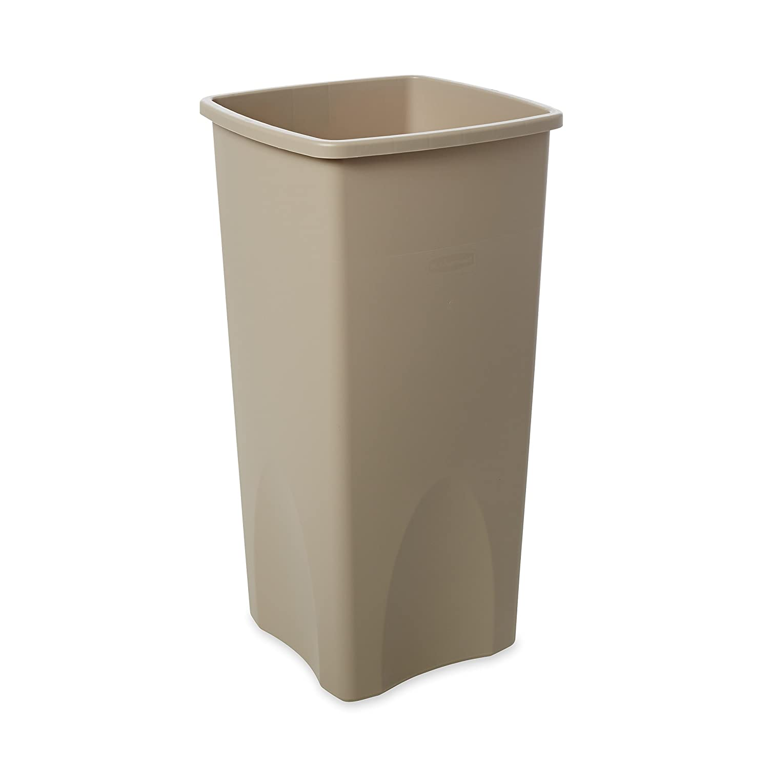 Rubbermaid Commercial FG356988BEIG Rectangular 23-Gallon Untouchable Trash Can, Beige