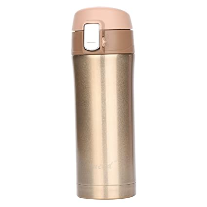 32c1615fed3 Insulated Stainless Steel Vacuum Flask Travel Coffee Mug 12 oz, Double  Walll Leak Proof Beverage Thermos Bottle,Golden