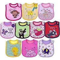 Yafane 10X Baberos Bebé Impermeables Algodón Baberos absorbentes Bandana Drool para Bebé Niñas de 3 a 24 Meses