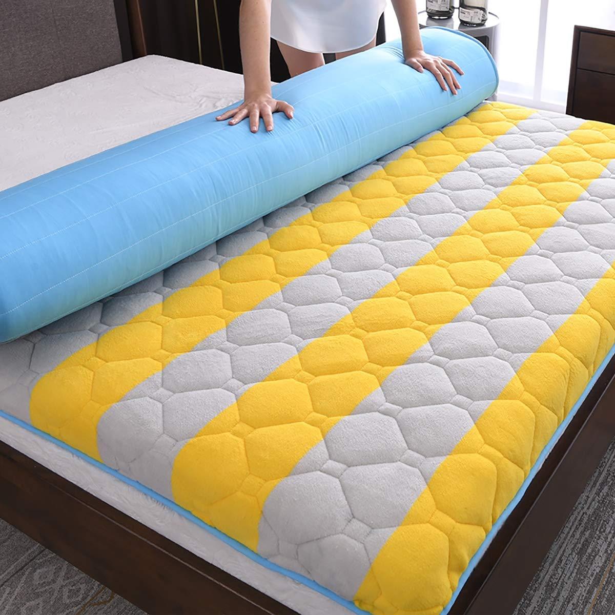 A 180200cm 10cm Thick Flannel Floor Futon Mattress, Japanese Traditional Futon Mattress Classe Sleeping Tatami Floor mat Mattress Topper for Dorm Bedroom,B,90  200cm