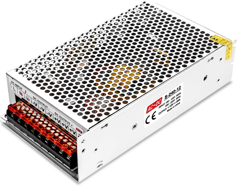 LEDMO 12V 20A 240W Transformador de Potencia, Fuente de Alimentación, Transformador de Voltaje para la Tira de LED