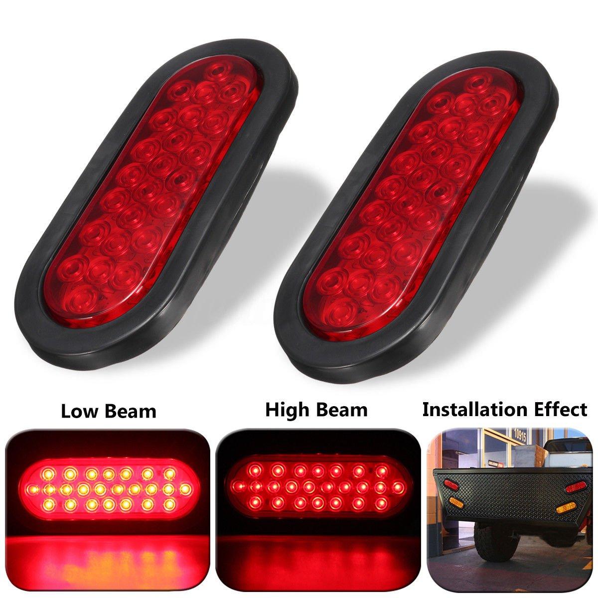 "Amazon.com: Wilk 2 Red Oval Sealed LED Surface Mount 6"" Oval Stop Turn Tail  Brake Light fit Trailer Truck Boat RV UTV: Automotive"