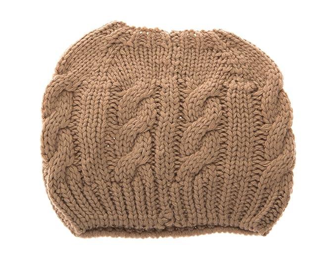 31101197881833 Women Crochet Ponytail Messy High Bun Beanie Winter Hat, Slouchy Cable Knit  Twist (Beige