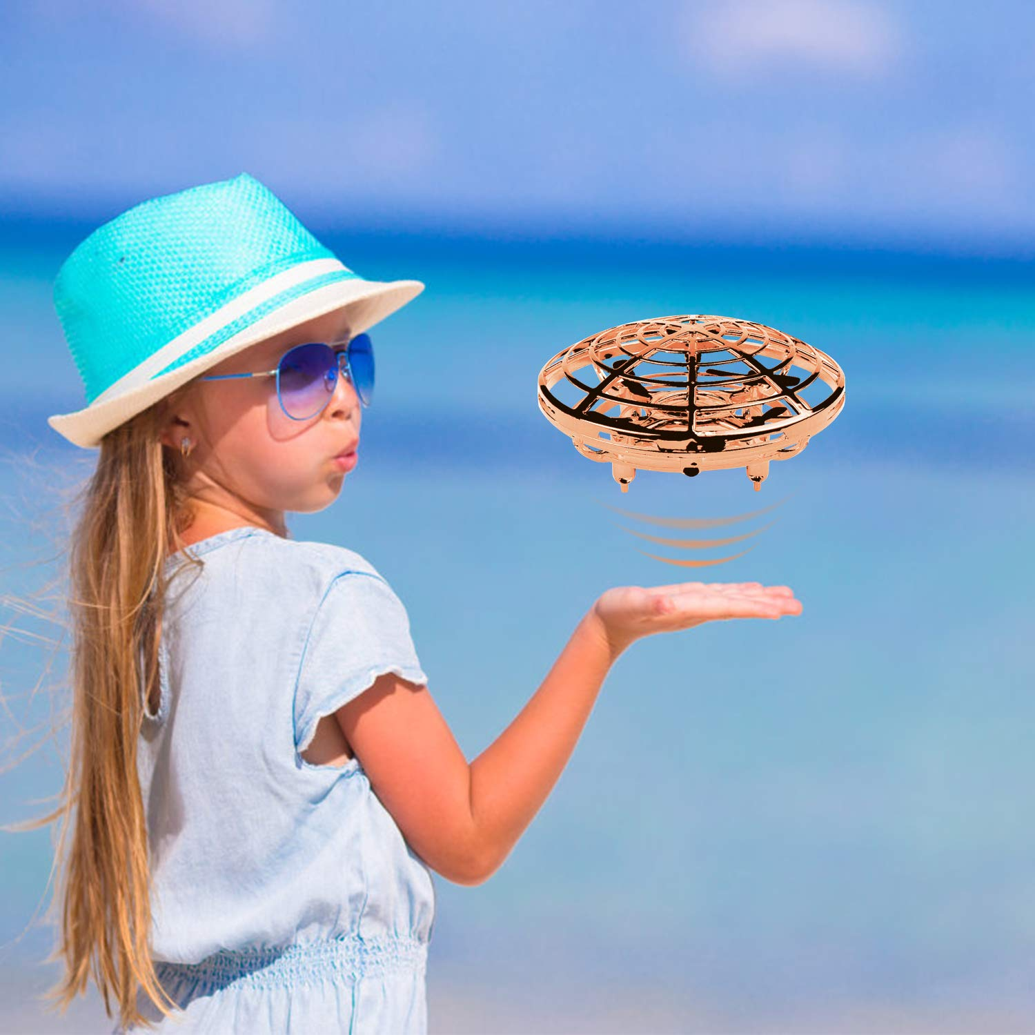 Ferbon Hand Control Flying Ball Mini Drone Helicopter with Interactive Infrared Induction, Fly Toys for Boys & Girls, for Kids (Gold) by Ferbon (Image #3)