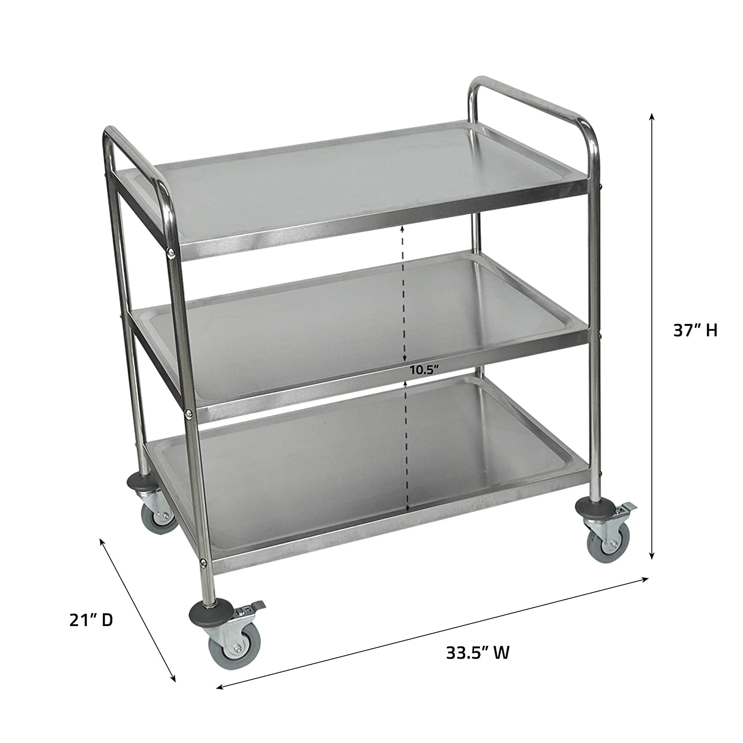 Luxor Stainless Steel 3 Shelf Cart Kitchen Storage Carts Industrial Scientific