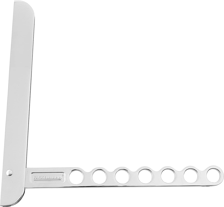 Fackelmann Gancho Plegable para Balcón o Armario, Percha Flexible para Colgar Ropa, 13 Prendas, Aluminio Plateado, 26,5x2,5cm, 1ud, INOX