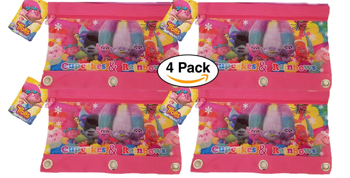 Tri costal design 4 Pack DreamWorks Trolls 3 Ring Pencil Case Pouch is Great for Storing School Supplies. for Party Favors Party Goodie Bags Party Supplies