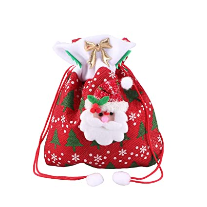 tinksky christmas candy bags cute santa claus drawstring gift treat bag goodie bag pocket sweet candy - Candy Christmas Ornaments