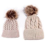 Amiley Mom and Baby Knitted Crochet Fur Pom Pom Hat Braided Warm Ski Beanie Cap (Khaki)