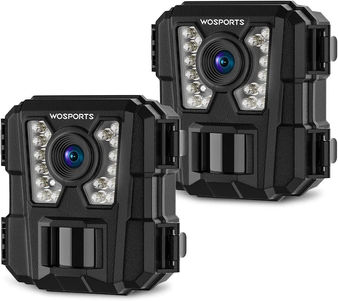 Wosports 2 Pack Mini Trail Camera 1080P Hunting Wildlife Cameras with Night Vision, Upgraded Waterproof IP56 Camera for Home Security Wildlife Monitoring Hunting