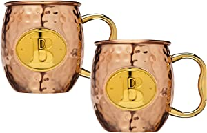 Moscow Mule Copper Mugs for Cocktails and Ice Cold Beverages - MONOGRAM
