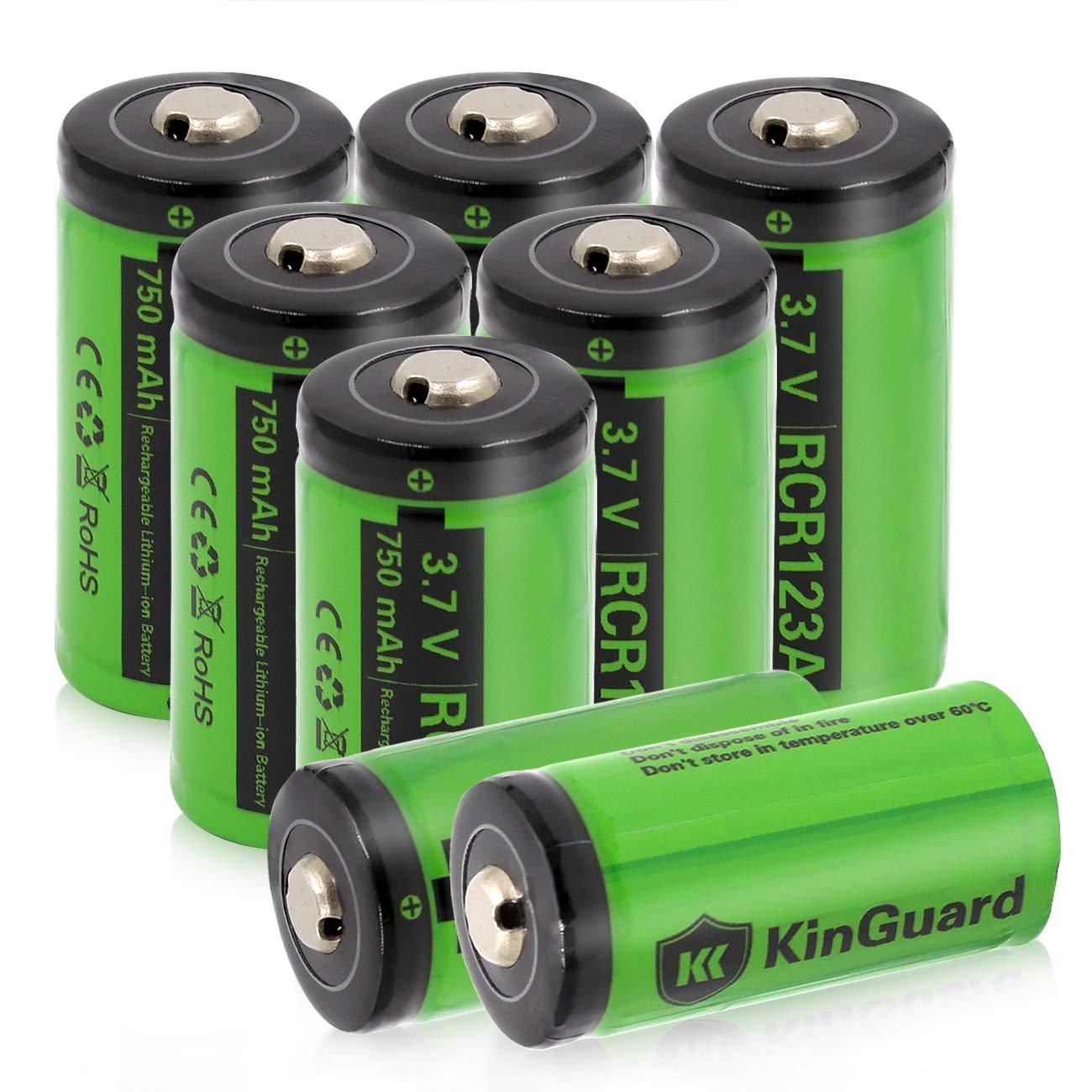 KinGuard RCR123A Rechargeable Batteries 3.7V 750mAh CR123A Lithium Battery for Arlo Camera VMC3030 VMK3200 VMS3330 3430 3530 Flashlight - 8 Pack by KinGuard