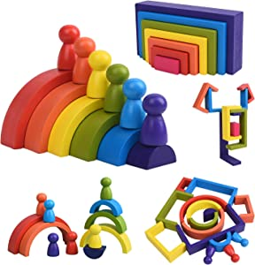 Wooden Toys Rainbow Stacking Block 19 PCS   Montessori Geometry Educational Building Game for Fine Motor Skills   Learning Gifts for Preschool Baby Boy and Girls
