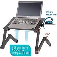 Wonder Worker Einstein ergonomik Laptop Masası katlanabilir notebook için fare, 2USB-FAN raf, alüminyum, siyah
