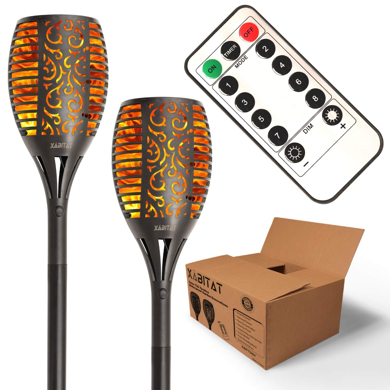 Xabitat Solar Tiki Torch Lights - Remote Controlled Flickering Flame Yard Decorations - LED Waterproof Outdoor Lighting - Patio and Pathway Decor - Suits Lawn Deck and Driveway Decoration - 2 Pack