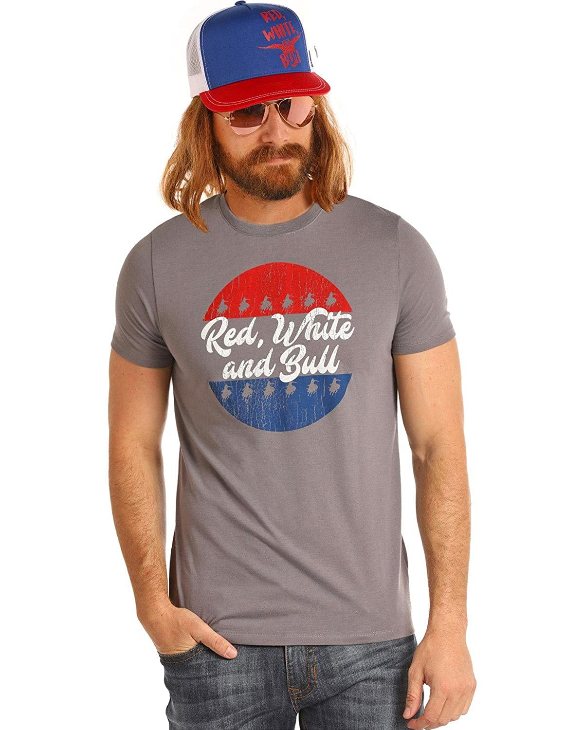 17827d2f0 DALE BRISBY Mens Red, White and Bull Tee