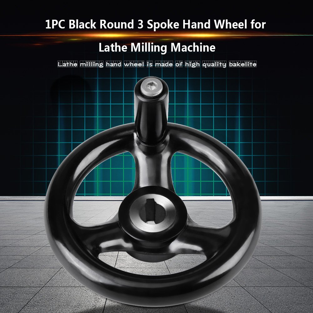 12/* 100/mm 3/Spoke /à main Roue avec poign/ée tournante pour tour /à machine de fraisage Noir Rond