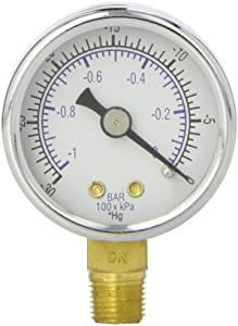 "PIC Gauge 101D-158A 1.5"" Dial, 30""/0 hg Vacuum psi Range, 1/8"" Male NPT Connection Size, Bottom Mount Dry Pressure Gauge with a Black Steel Case, Brass Internals, Chrome Bezel, and Plastic Lens"