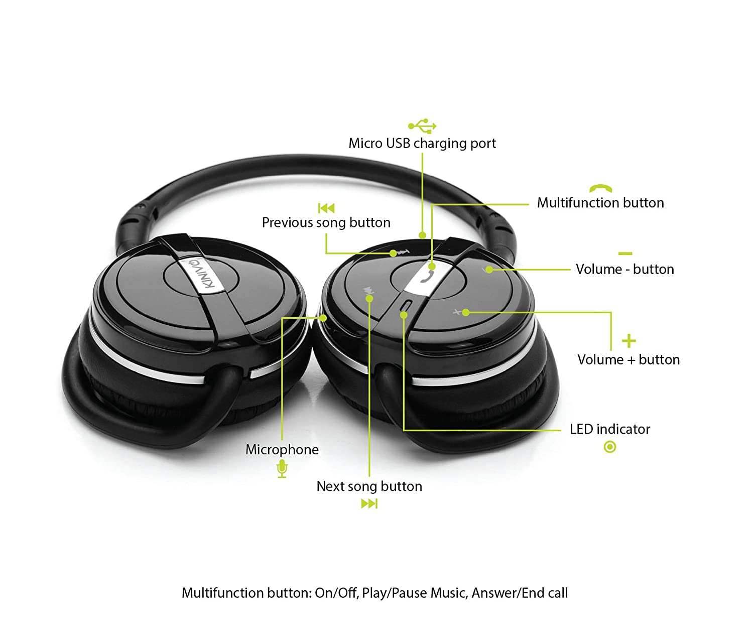 Kinivo Bth240 Bluetooth Stereo Headphone Supports Wireless Music Lithium Ion 8211 Polymer Usb Battery Charger By Max1811 Streaming And Hands Free Calling Electronics