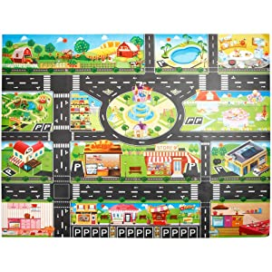 Vibola Kids Play Mat Rug,City Road Buildings Parking Map Playroom Learning Activity Carpet,Road Rug and Car Play Mat,Educational, Safe,Children's Street Floor mat Carpet
