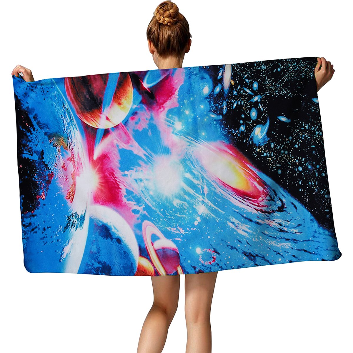 TUONROAD Packable Travel Towel Unique Cool Galaxy Space Pattern Jumbo Beach Towel Black White Blue Red Yellow Colorful Microfiber Bath Towels 30\