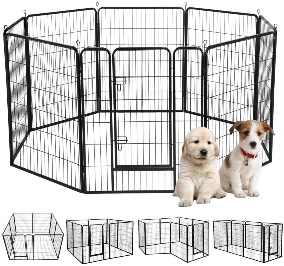 Yaheetech 40-inch 8 Panel Portable Metal Fence Folding Pet Playpen with Door Gate for Large Small Animals Outdoor Indoor Dog Cat Puppy Rabbits Exercise Play Pen