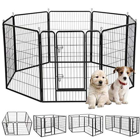 Yaheetech 39 H 8 Panel Portable Metal Fence Folding Pet Playpen with Door Gate for Large Small Animals Outdoor Indoor Dog Cat Puppy Rabbits Exercise Play Pen 8 Panels