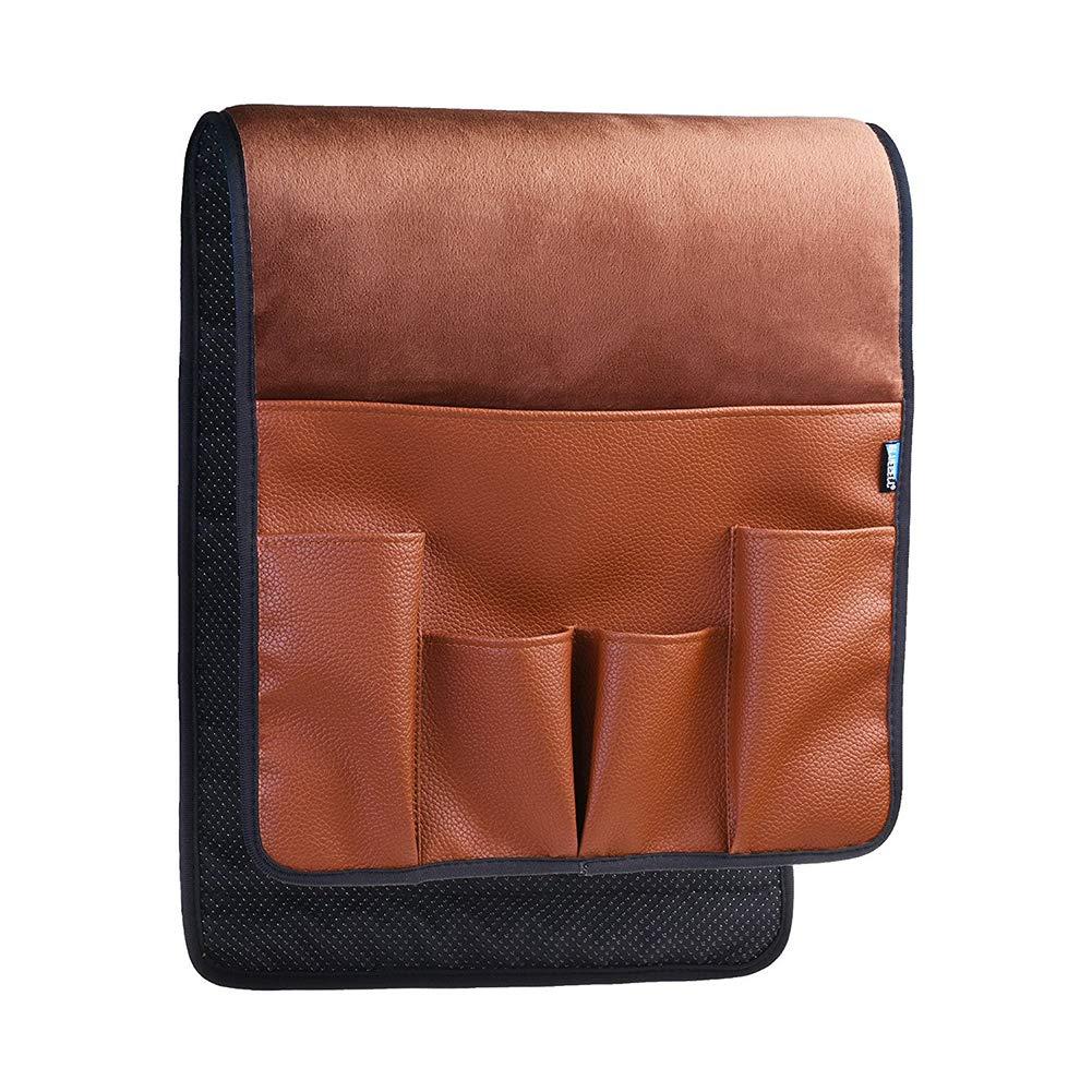 Mallalah Velours Canapé Couch Chaise Accoudoir en Cuir Doux Organisateur Titulaire pour Télécommande Téléphone Portable Livre Magazines iPhone iPad (Noir)