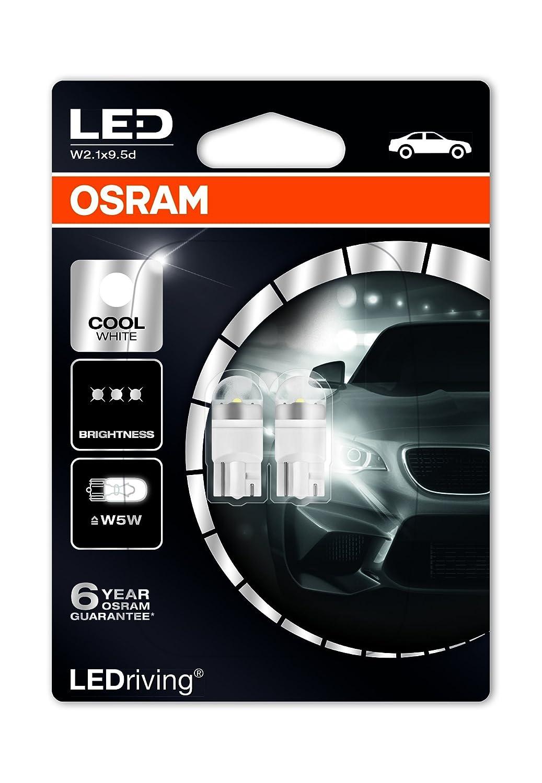LED Premium Retrofit W2.1x9.5d de OSRAM, LED-W5W, iluminación interior, 2850CW-02B, Cool White, vehículo de 12 V, ampolla doble (2 unidades)
