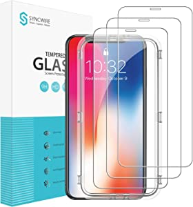 Syncwire Screen Protector for iPhone Xs/X [3 Packs], 9H Anti-Fingerprint Tempered Glass for iPhone Xs/X [Face ID Protection, Screen-Alignment Frame Included, Anti-Scratch, 3D Touch]