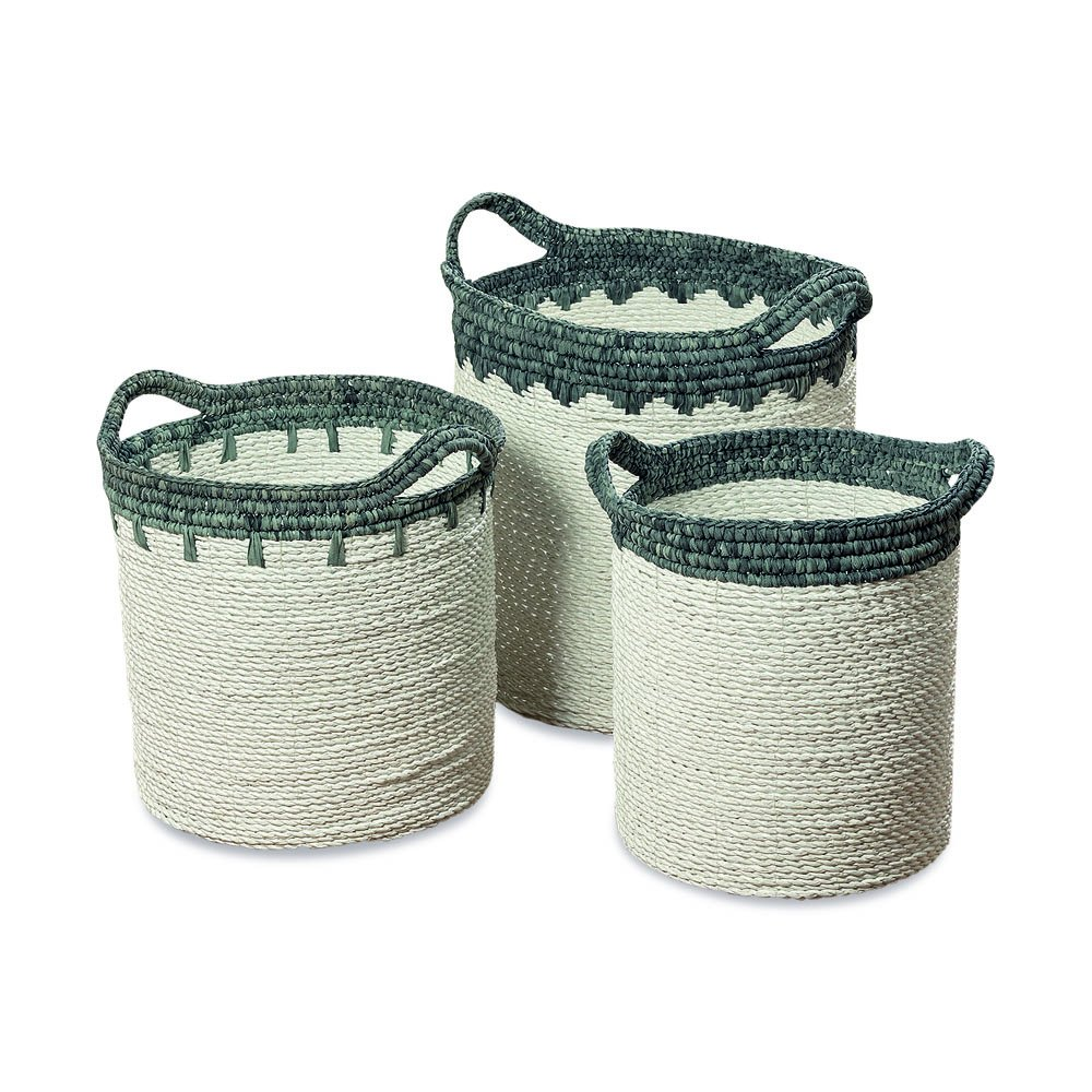 The Blue and White Wicker Denim Top Baskets, Set of 3, Shabby Faded Soft Fabirc Tops and Handles, Sturdy And Stitched Woven Fiber Bases, 17, 15, and 14 Inches Tall, By Whole House Worlds by Whole House Worlds