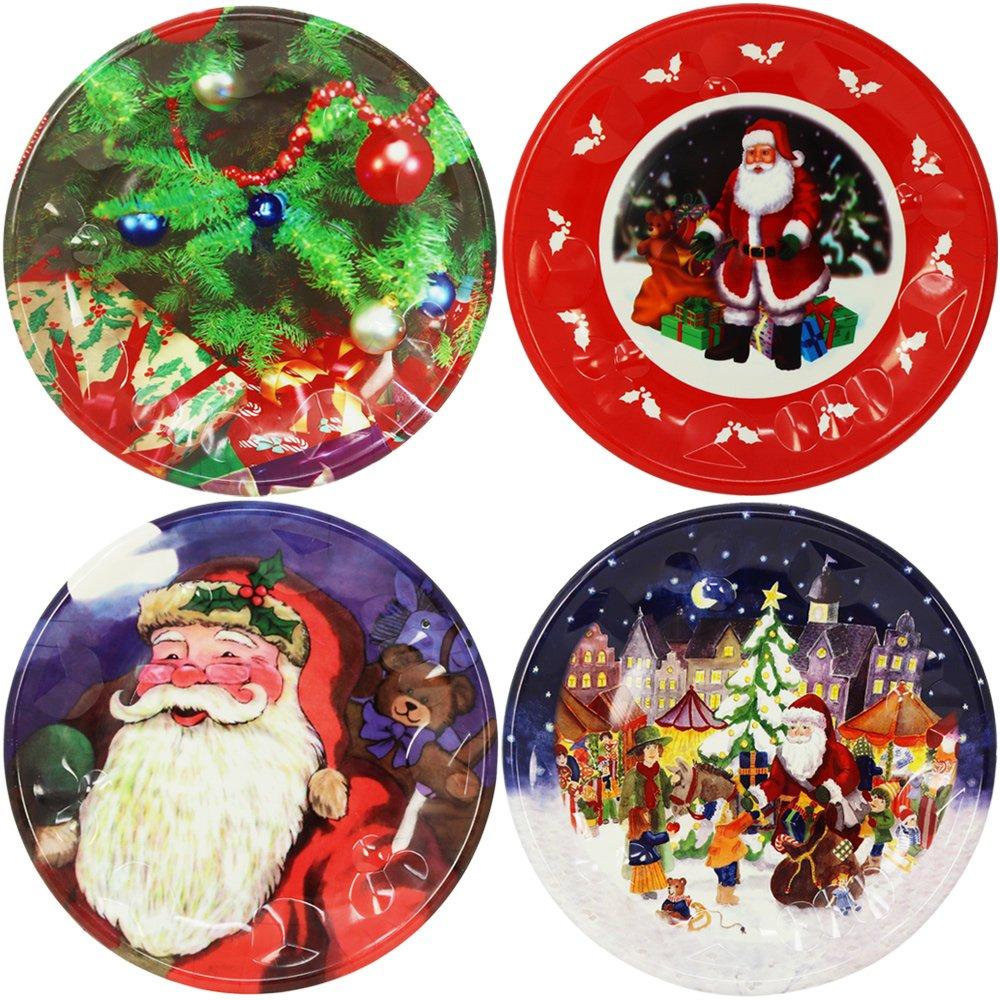 Amazon.de: COM-FOUR® 4x Weihnachtsteller mit verschiedenen Motiven ...