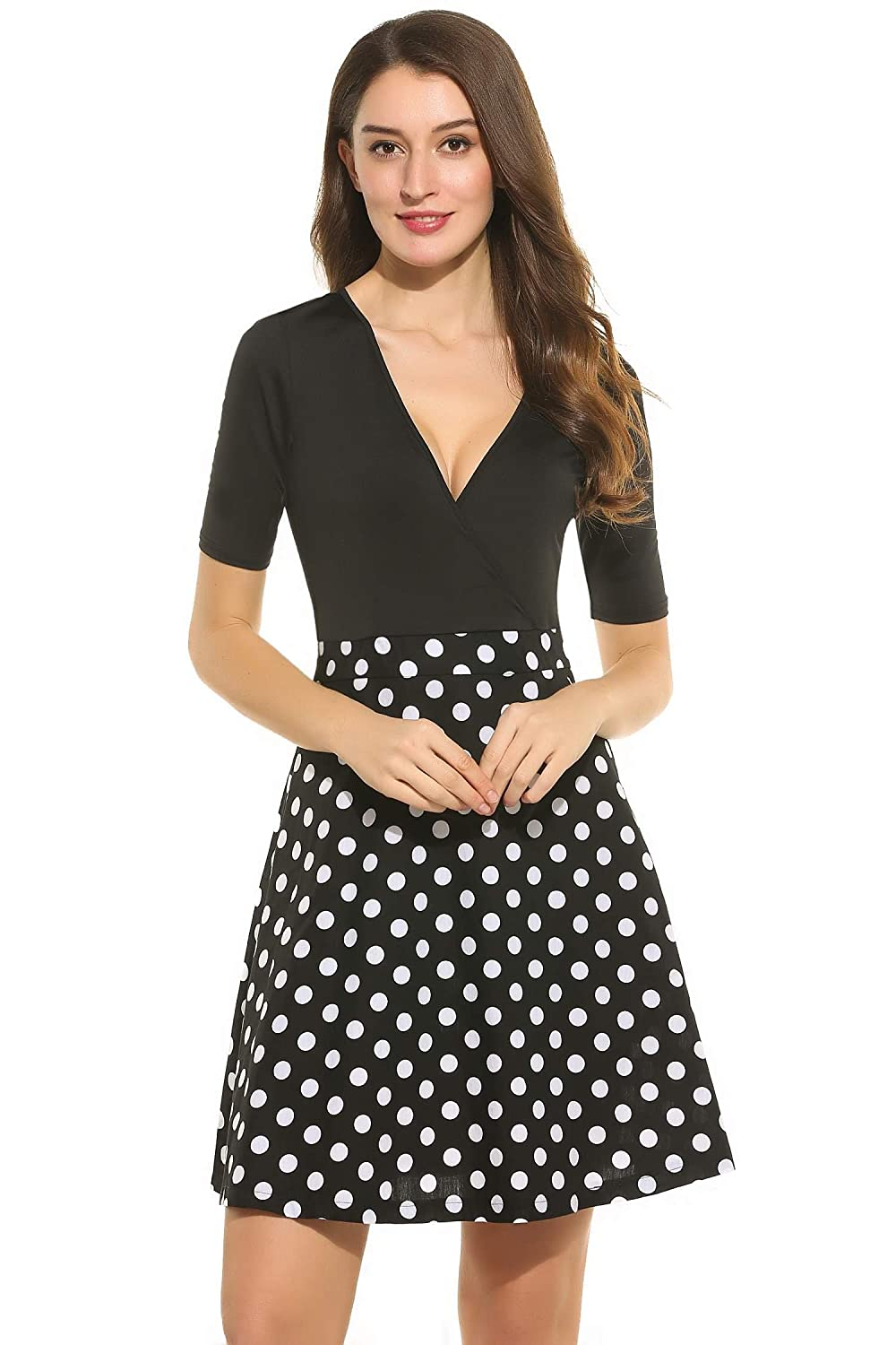 35ef87f309 Bikeias Women Deep V-Neck Half Sleeve Polka Dots Cocktail Party Skater Dress  at Amazon Women's Clothing store: