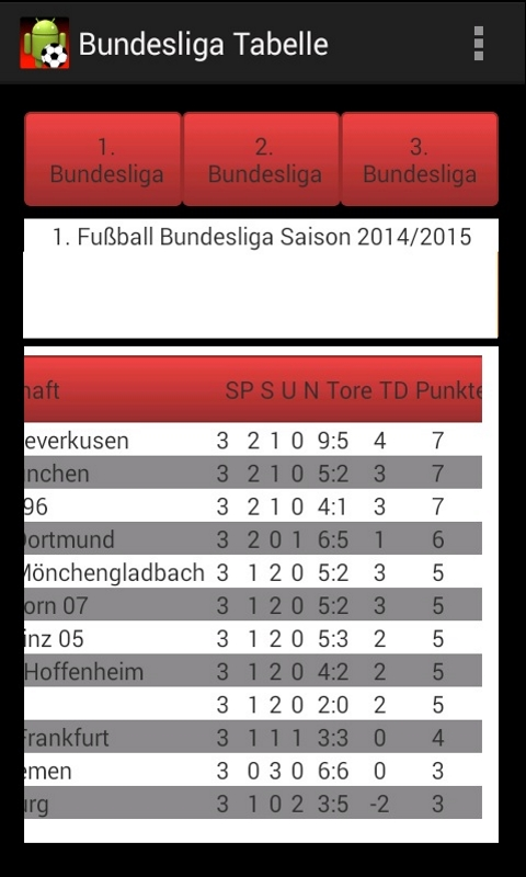 Amazon Com Bundesliga Tabelle Appstore For Android