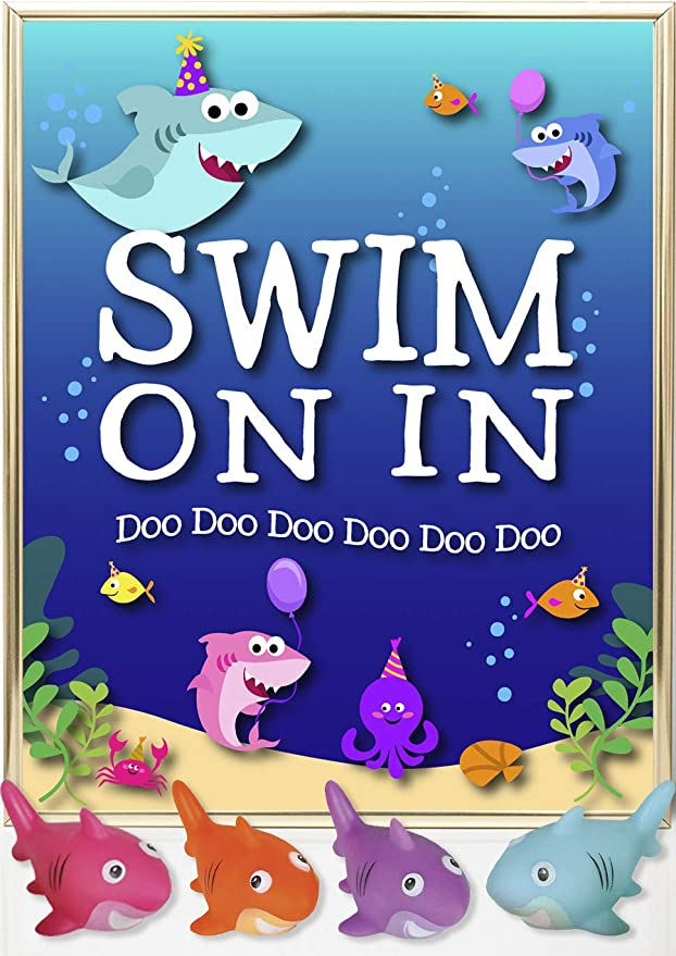 PINK BABY SHARK DooDooDoo Happy Birthday Party jumbo WALL BANNER DECORATION