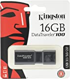 Kingston DT100G3/16 GB DataTraveler 100 G3, USB 3.0, 3.1 Flash Drive, 16 GB, Nero