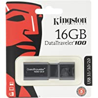 Kingston DT100G3/16GB DataTraveler 100 G3 - Memoria USB de 16 GB, USB 3.0 (100 MB/s R, 10 MB/s W), Color Negro