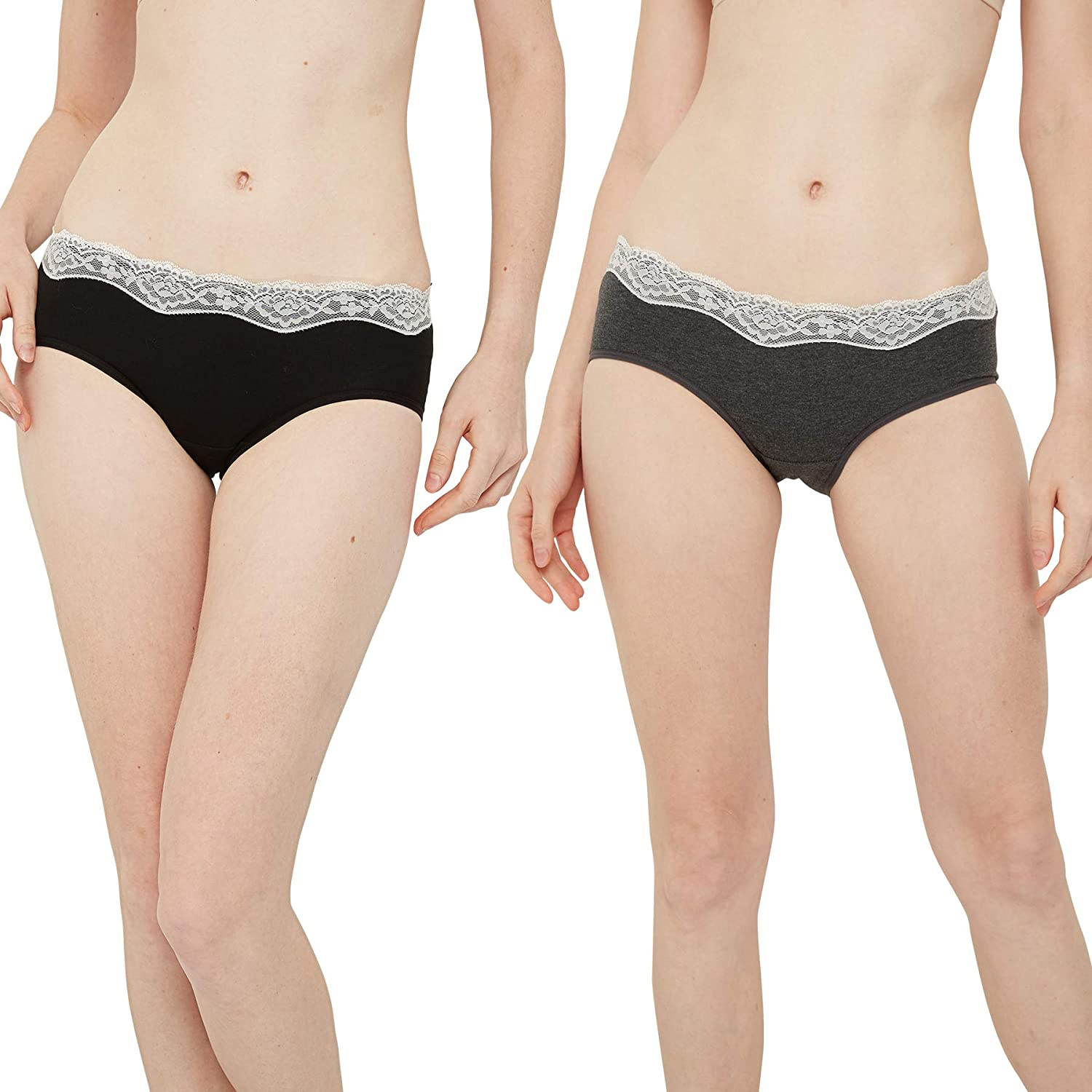 INNERSY Womens Lace Underwear Hipster Panties Cotton Underwear Tagless 6 Pack