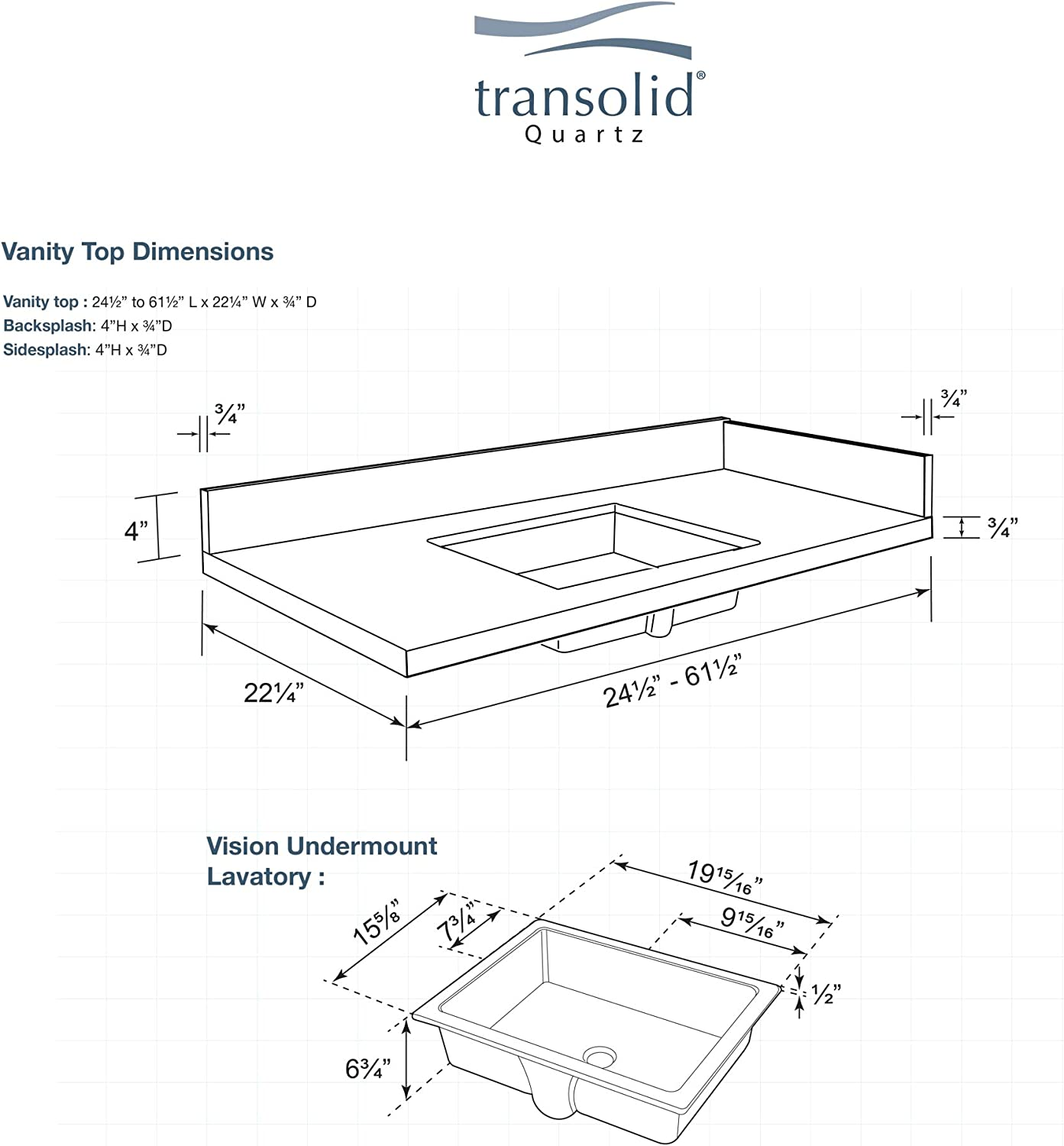 Transolid Vt25 25x22 1ku 4n A W 4 25 25 In D Quartz Vanity Top With 4 In Centerset And Rectangular Undermount Sink L X 22 25 D Almond Delite Amazon Com