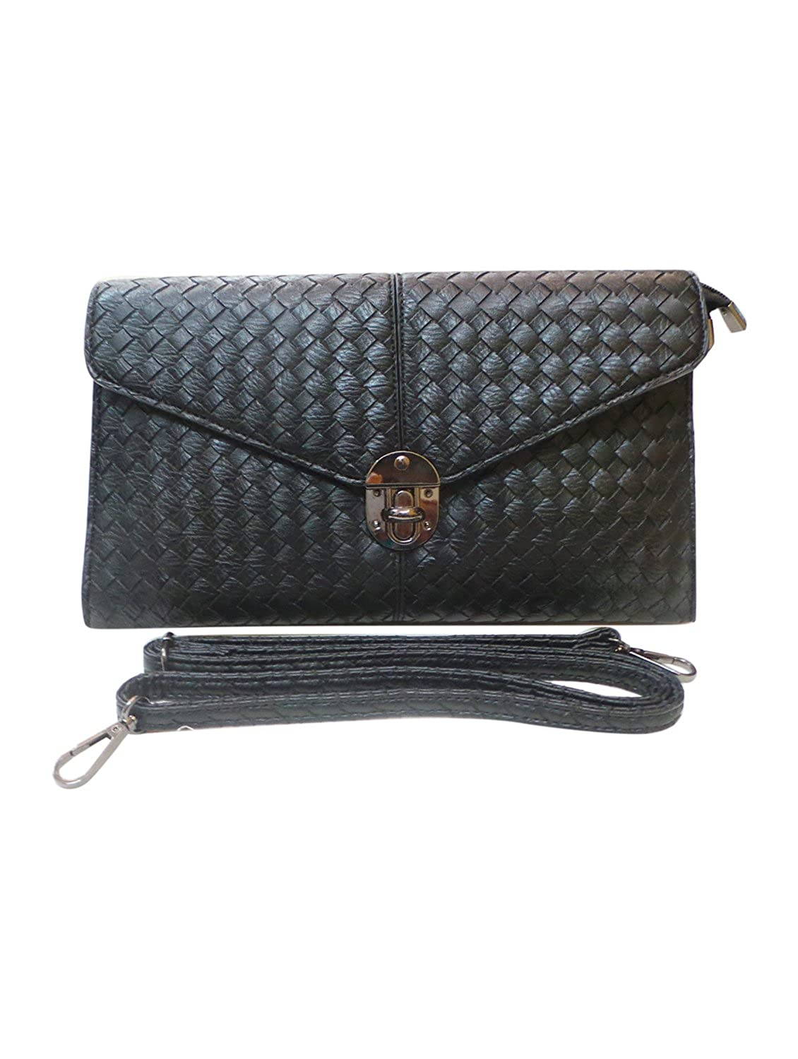 Bhamini Black Quilted PU Smart Clutch