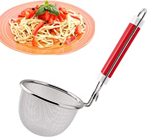 Stainless Steel Food Strainer Colander With Hook Handle Mesh Spider Strainer - As Noodle Pasta Strainer Basket For Rinsing Pasta, Noodles,Fruits Fine Mesh Net Kitchen Strainers