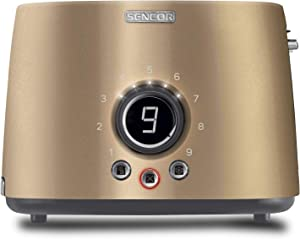 Sencor STS6057CH Premium Metallic 2-slot High Lift Toaster with Digital Button and Toaster Rack, Champagne
