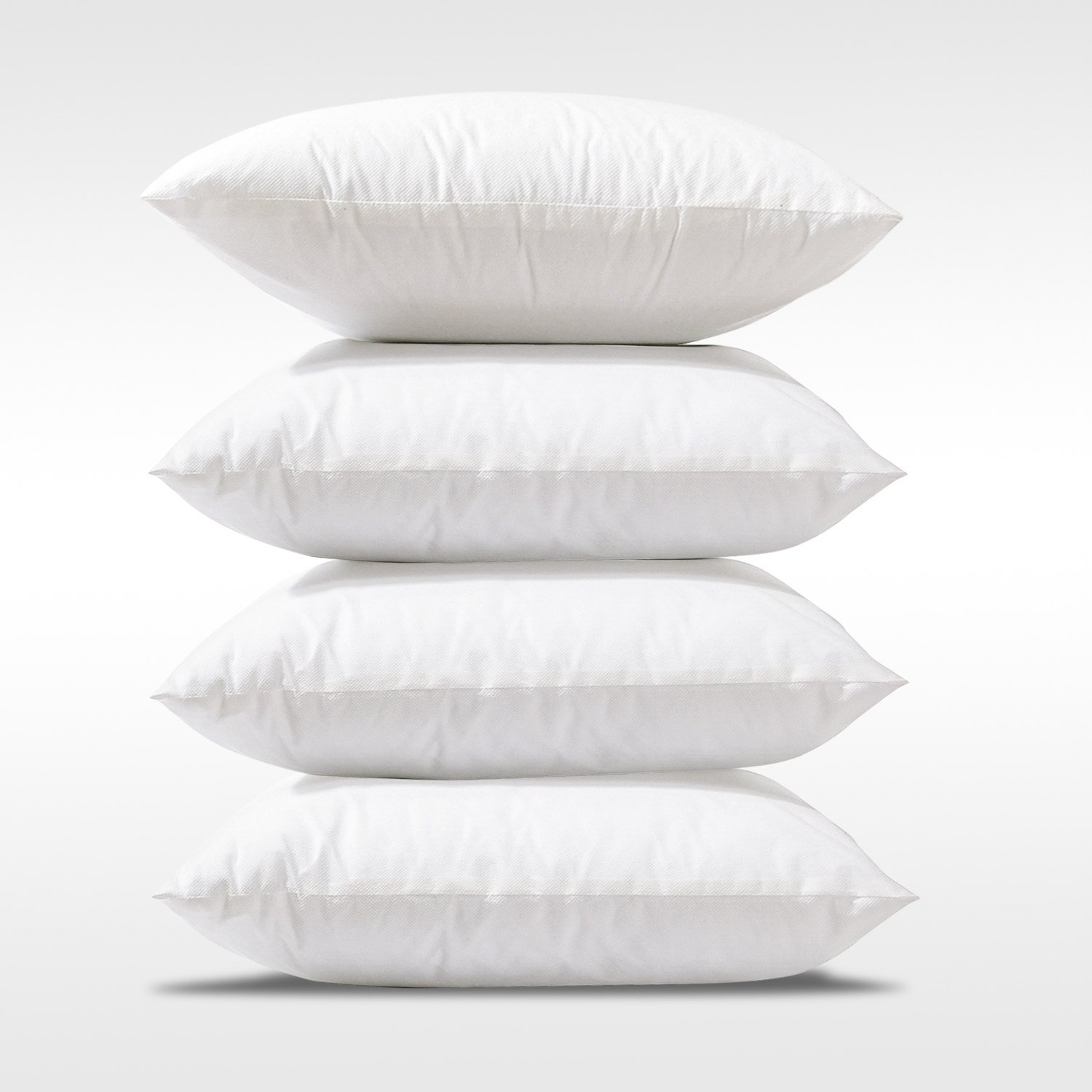 PHANTOSCOPE 4 Packs Polyester Throw Pillow Insert Sham Square Form Sofa Bed Cushion Cover White 18 x 18 inch for Home Decor