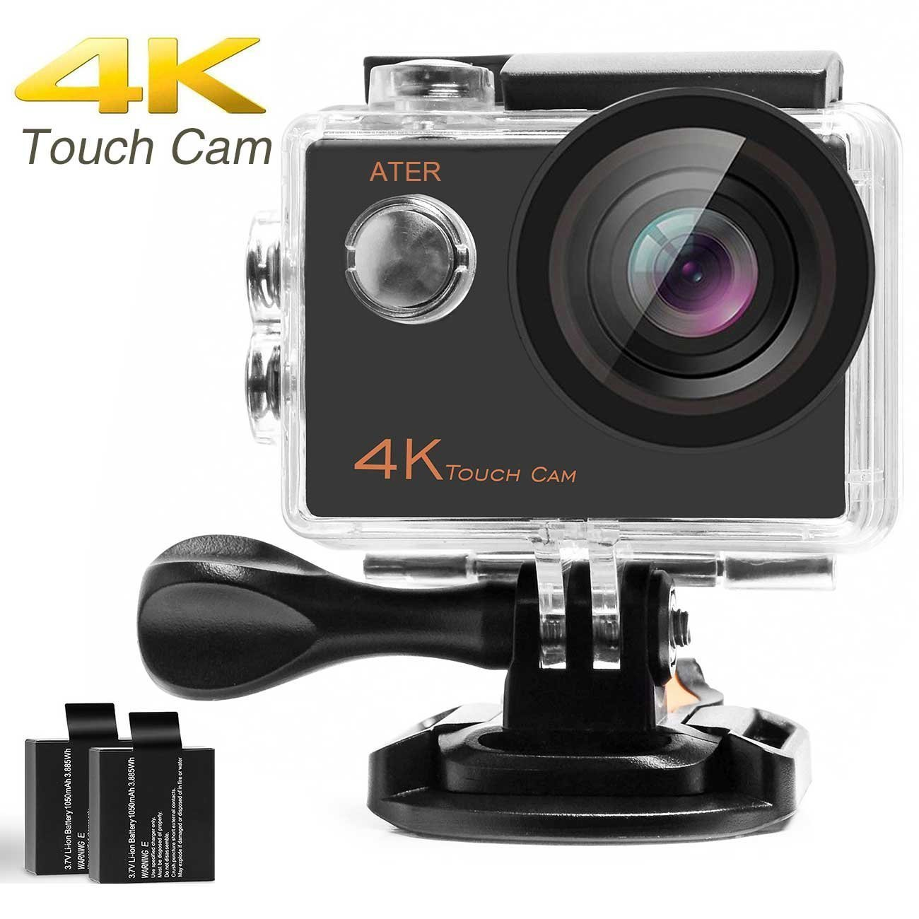 4K Touch Action Camera WIFI Ultra HD 16MP 30m Underwater Waterproof Camcorder 170 Degree Wide Angle 2 inch LCD Screen Sports Cam with Mounting Kits